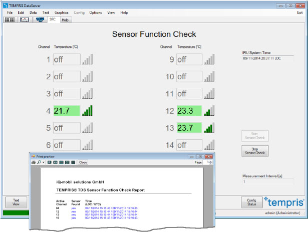 TEMPRIS DataServer - Sensor Function Check