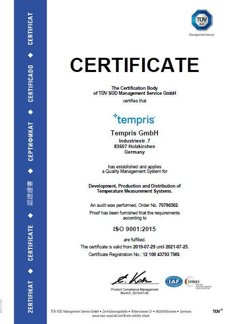 ISO Certificate - Tempris